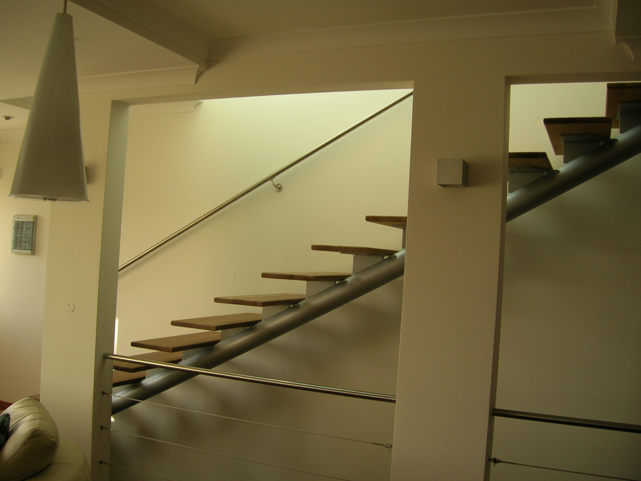 Modern Steel And Wood Indoor Stairs Stainless Steel And Metal ACMA