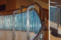 Stainless Steel with Decorated Glass Indoor Handrail